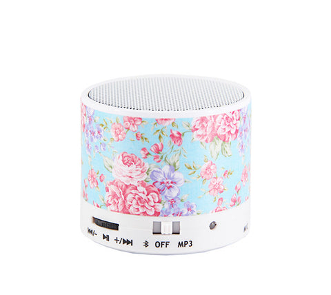Blue Flowers Pastel Design Wireless Portable Bluetooth Mini Speaker - Acyc - 1