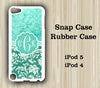 Mint Teal Floral Pattern Monogram iPod Touch 5 Case iPod Touch 4 Case - Acyc - 1