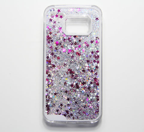 Clear Siliver Glitter Waterfall Samsung  Galaxy S6 Edge  Case S6  S5 Case - Free Shipping - Acyc