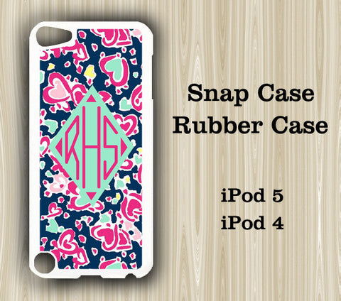 Navy Blue Love Monogram iPod Touch 5 Case iPod Touch 4 Case - Acyc - 1