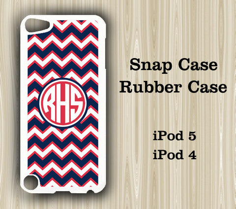 Navy Blue and Red Chevron Monogram iPod Touch 5 Case iPod Touch 4 Case - Acyc - 1