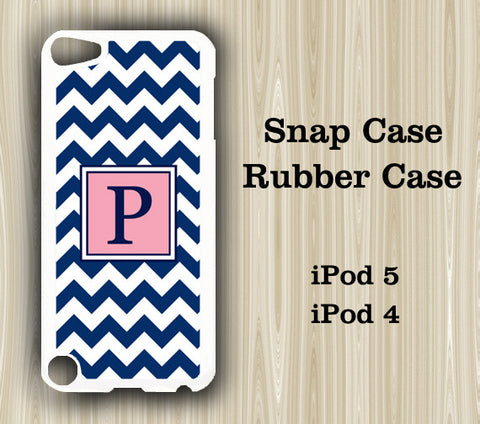 Navy and Pink Chevron Monogram iPod Touch 5 Case iPod Touch 4 Case - Acyc - 1