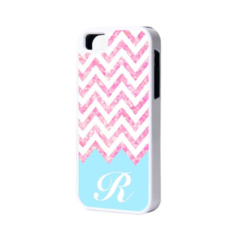 Pink Chevron Monogram Initial iPhone 5S/5C/5/4S/4 Tough Case and Soft Case - Acyc - 1