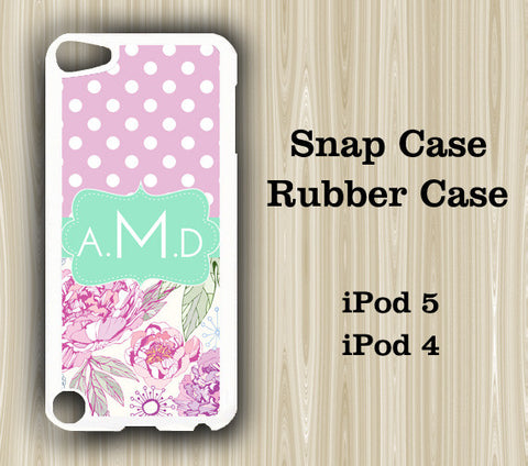 Pink Polka Dots Floral Monogram iPod Touch 5 Case iPod Touch 4 Case - Acyc - 1