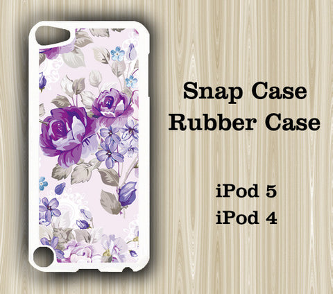 Purple Floral iPod Touch 5 Case iPod Touch 4 Case - Acyc - 1