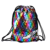 Mermaid Sequin Drawstring Bag, Reversible Flip Sequin Backpack Glittering Shoulder Bag for Dancing Beach Hiking Riding Bags