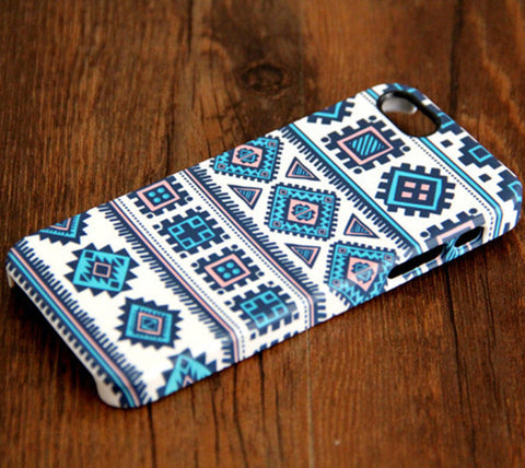 Ethnic Aztec Blue iPhone 6 Plus 6 5S 5C 5 4 Dual Layer Durable Tough Case #104 - Acyc - 1