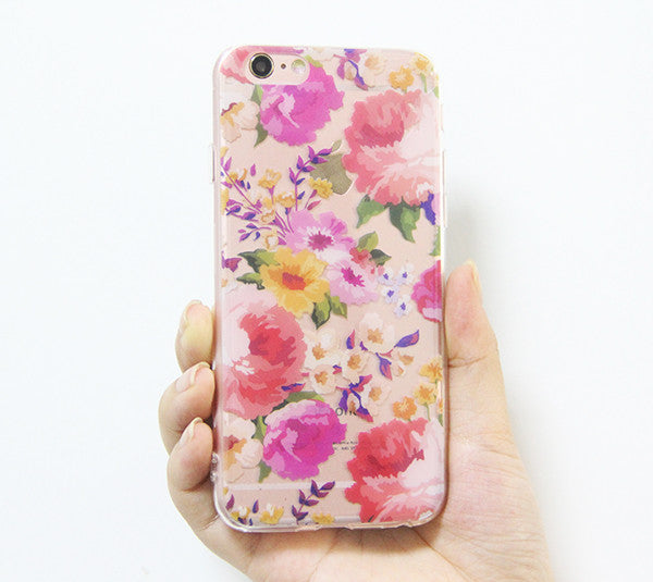 hot sale online 51305 63711 Rose Floral iPhone 6s 6 Clear Case Crystal iPhone 6s 6 plus Transparent  case Soft TPU