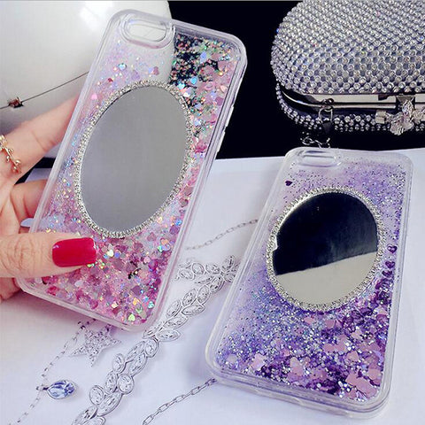 Glitter Bling with Mirror Quicksand Case Cover for iPhone 6S 6 Transparent Clear Protective Case S004 - Acyc