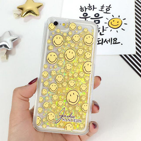 Smile Face Yellow Glitter Bling with Quicksand Case Cover for iPhone 6S 6 Transparent Clear Protective Case S005 - Acyc - 1
