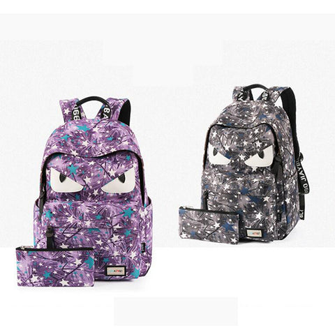 Cartoon Damon Eyes Pattern Canvas Zip Backpack School College Laptop Bag for Teens Girls Boys Students SB010 - Acyc