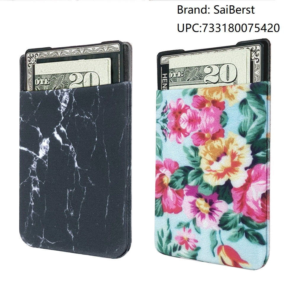 new style 7e833 16cfe SaiBerst (Two) Stretchy Cell Phone Stick On Wallet Card Holder Phone Pocket  For iPhone, Android and all smartphones. (Marble & Flower) - Acyc