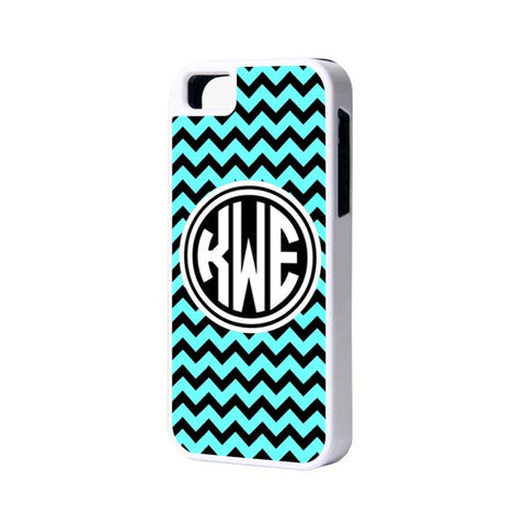 Teal Black Chevron Monogram iPhone Cases and Samsung Cases - Acyc - 1