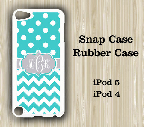 Teal Blue Chevron Dots Monogram iPod Touch 5 Case iPod Touch 4 Case - Acyc - 1