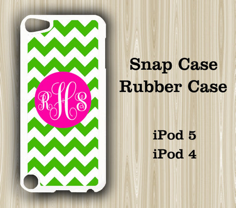 Teen Fashion Green and Pink Chevron Monogram iPod Touch 5 Case iPod Touch 4 Case - Acyc - 1