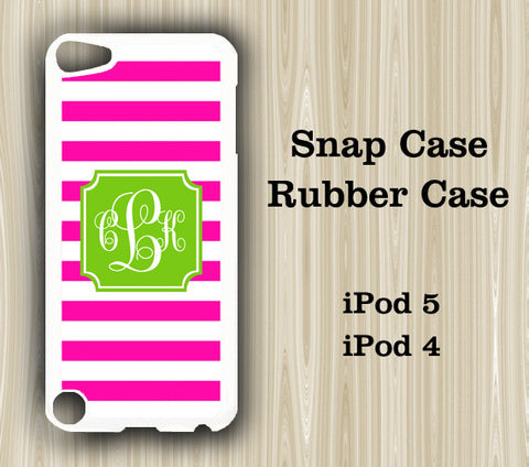 Teen Fashion Pink Stripes Monogram iPod Touch 5 Case iPod Touch 4 Case - Acyc - 1