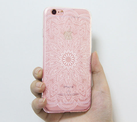 White Mandala Retro Floral iPhone 6s 6 Clear Case Crystal iPhone 6s 6 plus Transparent case Soft TPU - Acyc - 1