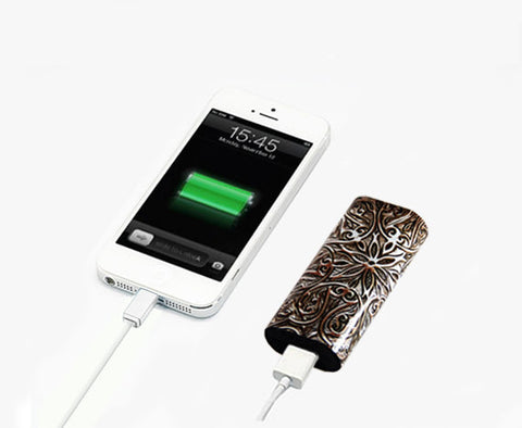 Retro Carving Wood Floral Portable Power Bank Charger for iPhone and Samsung - Acyc - 1