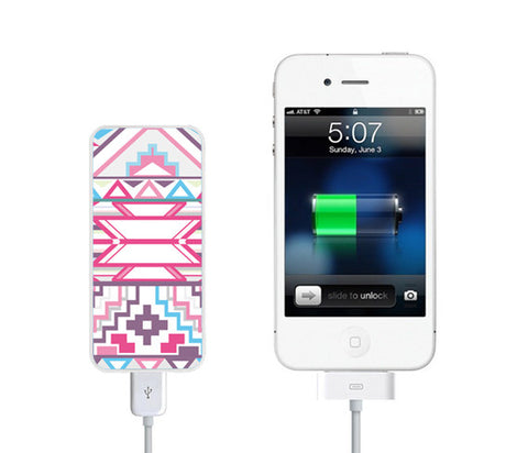 Geometric Pink Ethnic Power Bank External Battery Charger for iPhone and Samsung Andriod - Acyc - 1