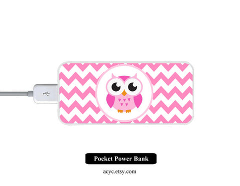 Pink Chevron OWL Power Bank External Battery Charger for iPhone and Samsung Andriod - Acyc - 1