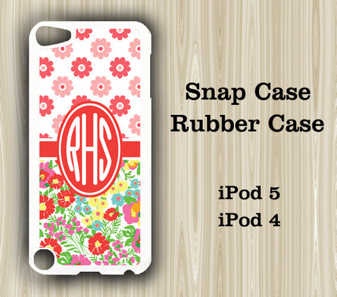 Red Flower Monogram iPod Touch 5 Case iPod Touch 4 Case - Acyc - 1