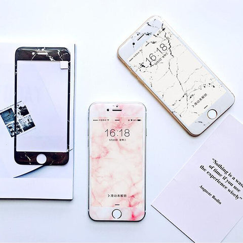 White/Pink/Black  Marbel iPhone 6S/6 Tempered Ballistic Glass Screen Protector - Acyc - 1