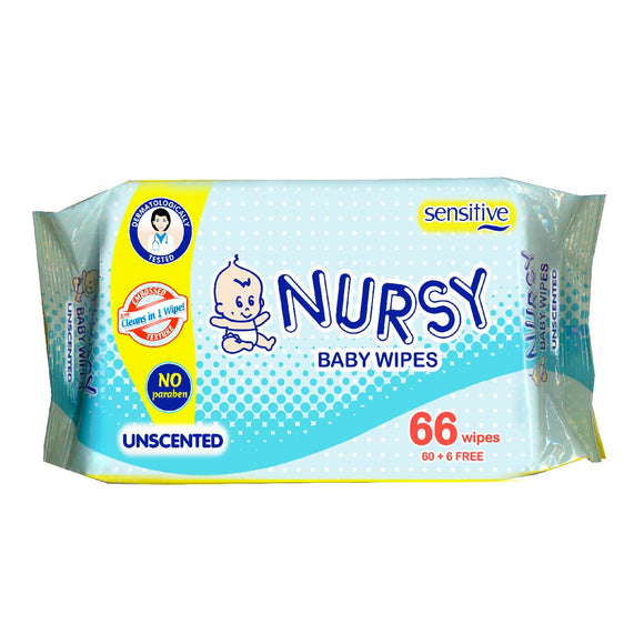 Nursy Baby Wipes Unscented 66s