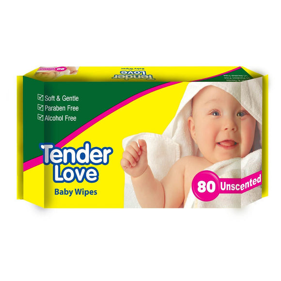 Tender Love Baby Wipes Unscented 80s