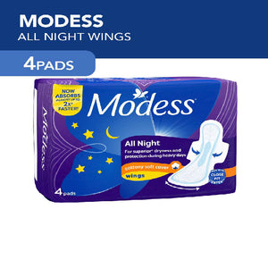 Modess Napkin All Nights Cottony Soft Cover with Wings 4s