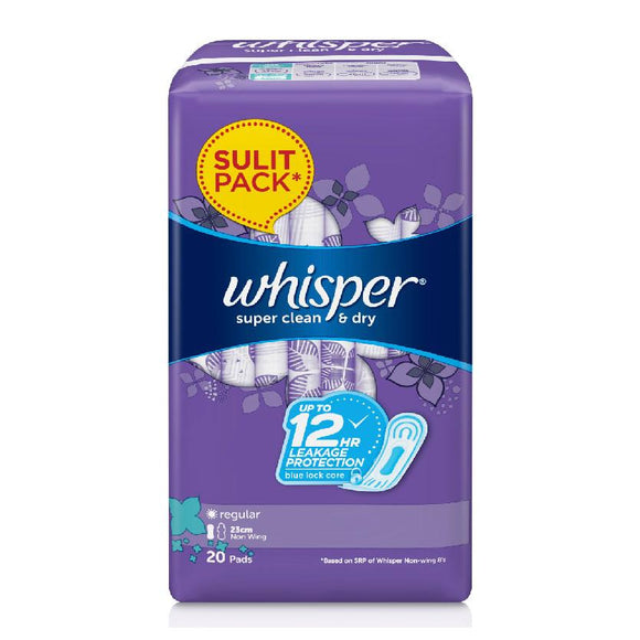 Whisper Super Clean & Dry Napkin Regular Flow 23cm Non Wings 20s