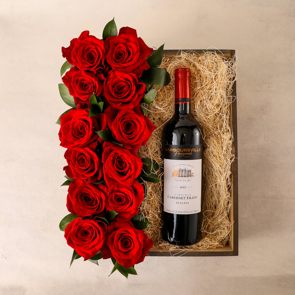 Roses and Wine Gift Box