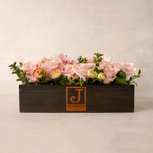 Load image into Gallery viewer, The Jardiniere Flowers Signature Flower Box Portsmouth New Hampshire Seacoast New England Florist Order Online for Local Delivery gorgeous flowers presented in a maine-in-maine wood box perfect present home business events just because happy birthday congratulations perfect gift thank you I love you Maine New Hampshire family-owned best local florist shown in pink colorful flowers roses orchids flower creation design customized support small business premium flowers
