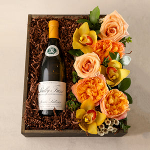 Flowers and Wine Gift Box by Jardiniere Flowers Portsmouth New Hampshire New England Seacoast Florist Gifts Wine Flora pair Chardonnay with seasonal fresh flowers customized family owned business order online local delivery home business events love