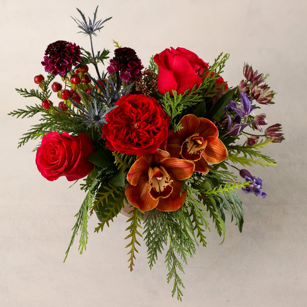 Load image into Gallery viewer, Jardiniere Flowers Petite Arrangement Portsmouth New Hampshire Seacoast New England Florist Order Online for Local Delivery home business events just because happy birthday congratulations night stand desk Maine New Hampshire family-owned best local florist signature jewel tones red brown purple holiday flower creation design customized by you support small business