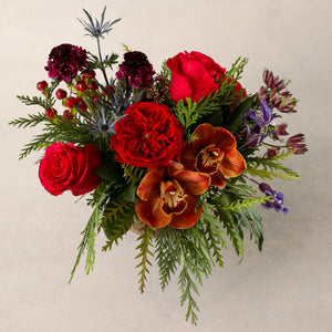 Jardiniere Flowers Petite Arrangement Portsmouth New Hampshire Seacoast New England Florist Order Online for Local Delivery home business events just because happy birthday congratulations night stand desk Maine New Hampshire family-owned best local florist signature jewel tones red brown purple holiday flower creation design customized by you support small business