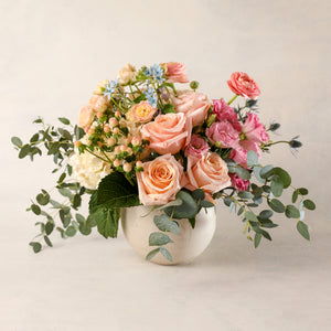 Load image into Gallery viewer, Jardiniere Flowers Medium Arrangement Portsmouth New Hampshire Seacoast New England Florist Order Online for Local Delivery home business events just because happy birthday congratulations office corporate perfect gift thank you friendship I love you Maine New Hampshire family-owned best local florist soft hues white pink pastels flower creation design customized by you support small business