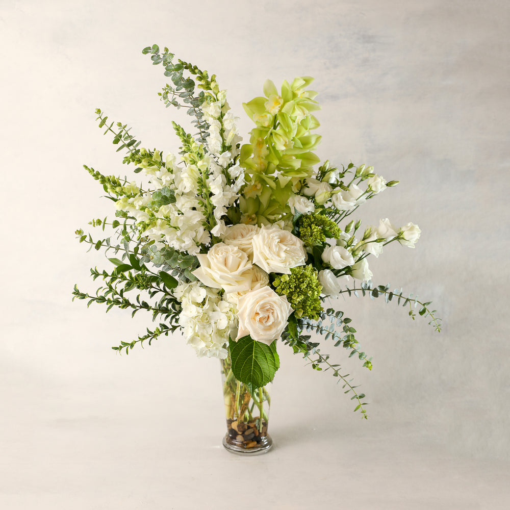 Load image into Gallery viewer, Jardiniere Flowers Large Arrangement Portsmouth New Hampshire Seacoast New England Florist Order Online for Local Delivery home business events just because happy birthday congratulations office corporate perfect gift thank you friendship I love you Maine New Hampshire family-owned best local florist tall and traditional composition signature white and green special garden flowers flower creation design customized by you support small business premium flowers