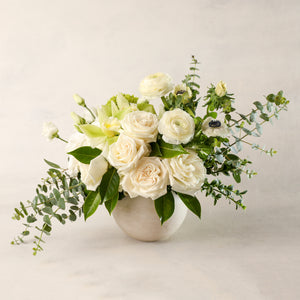 Load image into Gallery viewer, Jardiniere Flowers Medium Arrangement Portsmouth New Hampshire Seacoast New England Florist Order Online for Local Delivery home business events just because happy birthday congratulations office corporate perfect gift thank you friendship I love you Maine New Hampshire family-owned best local florist signature white and green flower creation design customized by you support small business