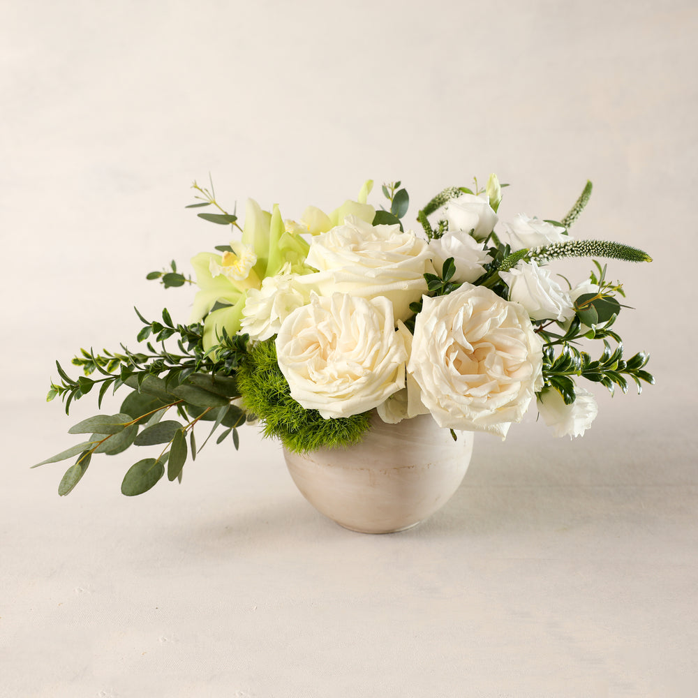 Load image into Gallery viewer, Jardiniere Flowers Petite Arrangement Portsmouth New Hampshire Seacoast New England Florist Order Online for Local Delivery home business events just because happy birthday congratulations night stand desk Maine New Hampshire family-owned best local florist signature white and green flower creation design customized by you support small business