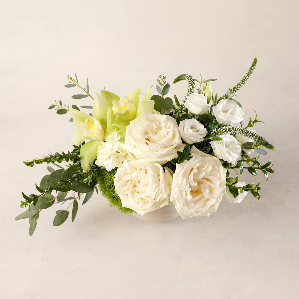 Jardiniere Flowers Petite Arrangement Portsmouth New Hampshire Seacoast New England Florist Order Online for Local Delivery home business events just because happy birthday congratulations night stand desk Maine New Hampshire family-owned best local florist signature white and green flower creation design customized by you support small business