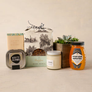 For the Home Gift Box by Jardiniere Flowers succulent Noted. Candles Saipua soap honey tea Persephone Bakery granola family-owned florist Portsmouth New Hampshire celebrate love gifts wine flora Maine New Hampshire Seacoast of New England Local Delivery Order Online