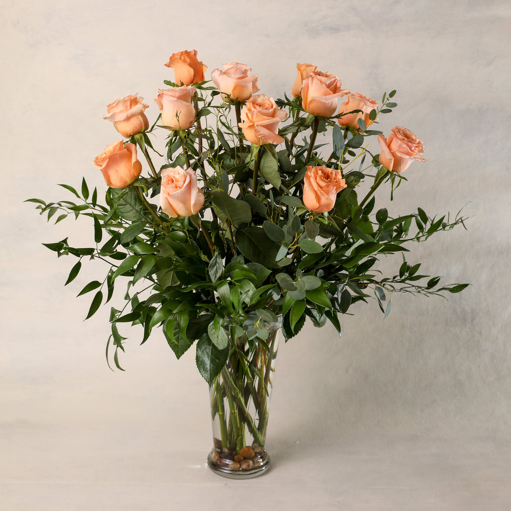 One Dozen Long Stemmed Roses Arranged in a Premium Vases beautiful greenery elegant classic Jardiniere Flowers Portsmouth New Hampshire Seacoast New England Family-owned florist order online for local delivery Maine New Hampshire love romance roses peach