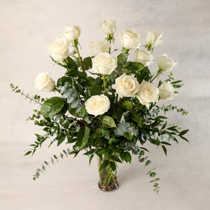 One Dozen Long Stemmed Roses Arranged in a Premium Vases beautiful greenery elegant classic Jardiniere Flowers Portsmouth New Hampshire Seacoast New England Family-owned florist order online for local delivery Maine New Hampshire love romance roses white