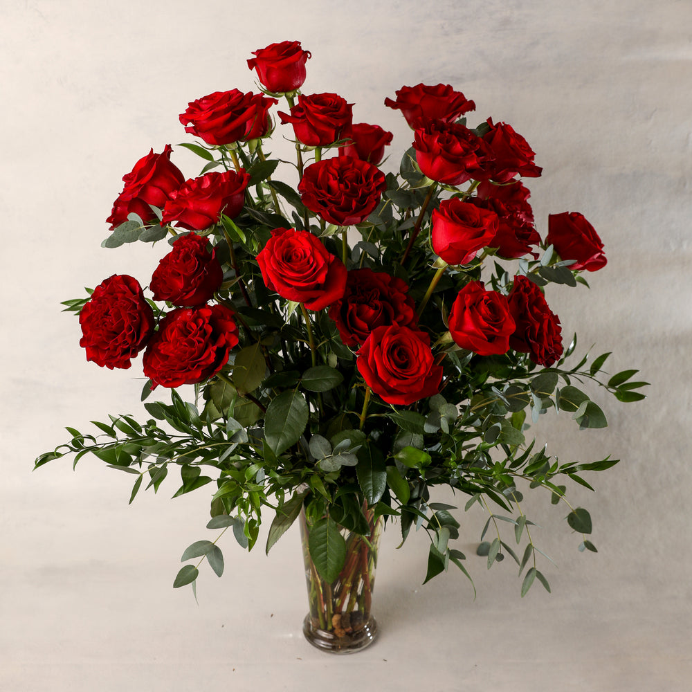Load image into Gallery viewer, Two Dozen 24 Long Stemmed Roses Arranged in a Premium Vases beautiful greenery elegant classic Jardiniere Flowers Portsmouth New Hampshire Seacoast New England Family-owned florist order online for local delivery Maine New Hampshire love romance roses red