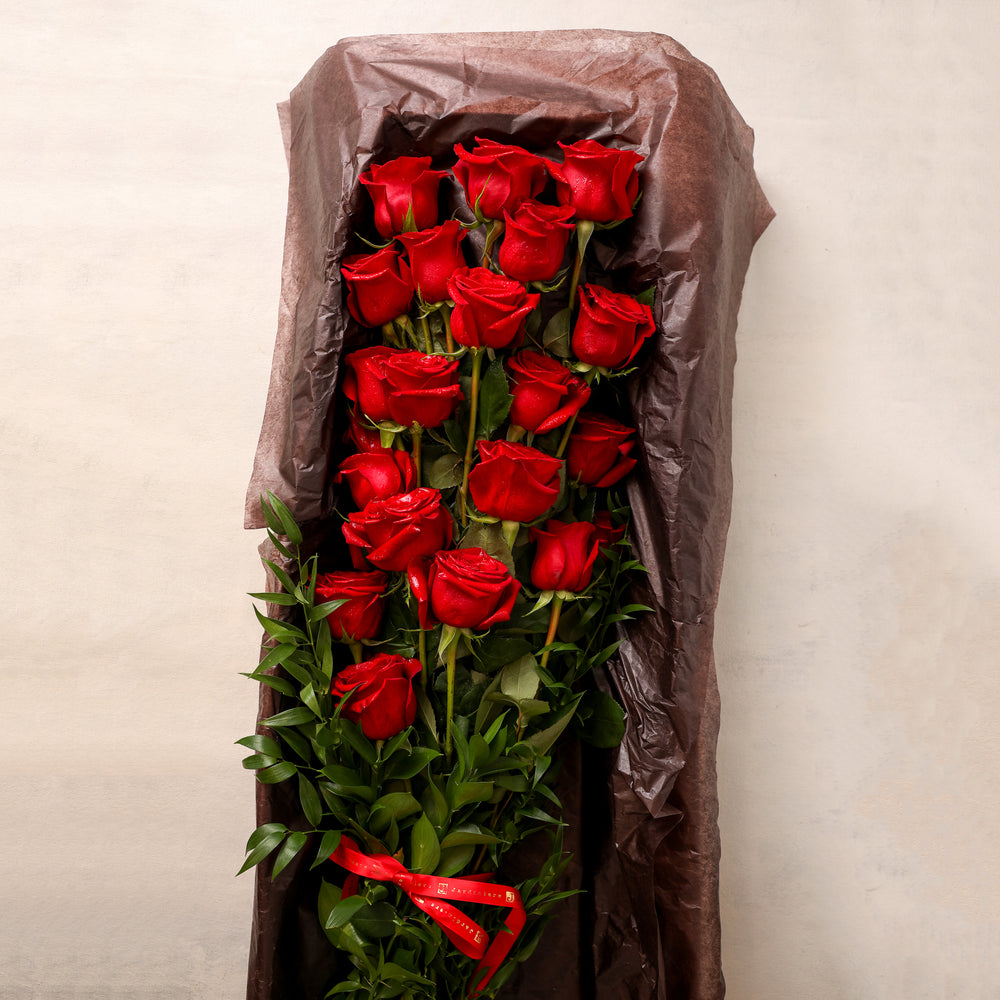 Two Dozen 24 Long Stemmed Roses in a box beautiful greenery elegant classic Jardiniere Flowers Portsmouth New Hampshire Seacoast New England Family-owned florist order online for local delivery Maine New Hampshire love romance roses red