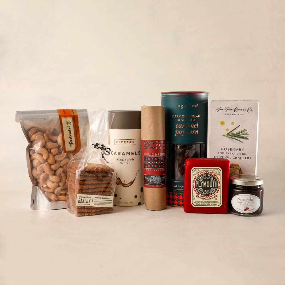 Load image into Gallery viewer, Savory and Sweet Large Gift Box packed with favorites! Sugarfina chocolate covered caramel popcorn Sarabeth's Jam NYC McCrea's Caramel The Fine Cheese Company crackers Shortcreek Farms salame roasted cashews and Persephone Bakery Cookies Jardiniere Flowers Portsmouth New Hampshire family owned florist order online for local deliver Maine New Hampshire made in New England rosemary gift box