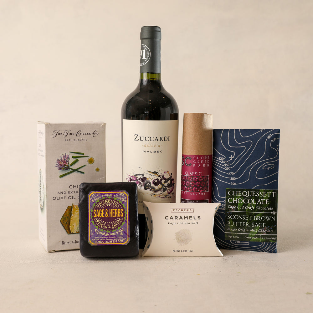 Load image into Gallery viewer, Red Wine Large Gift Box for Gift Boxes by Jardiniere Flowers, Zuccardi Malbec Red Wine The Fine Cheese Company Rosemary Crackers, Shortcreek Farms Salame Plymouth Cheese Vermont Plymouth Artisan Cheese Corporate Gifting House Warming Portsmouth New Hampshire New England Seacoast Florist Order Online for Local Delivery Products Maine New Hampshire