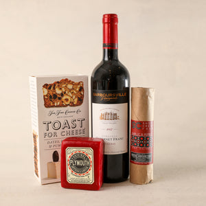 Red Wine Gift Tray for Gift Boxes by Jardiniere Flowers Barboursville Vineyards Cabernet Franc, The Fine Cheese Company Toast Crackers, Shortcreek Farms Salame Plymouth Cheese Vermont Plymouth Artisan Cheese Corporate Gifting House Warming Portsmouth New Hampshire New England Seacoast Florist Order Online for Local Delivery Products Maine New Hampshire