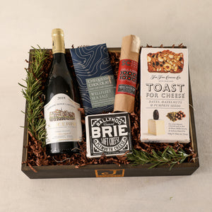 White Wine Gift Box Large for Gift Boxes by Jardiniere Flowers Sancerre Wine, The Fine Cheese Company Toast Crackers, Shortcreek Farms Salame Plymouth Cheese Vermont Brie Cheese Corporate Gifting House Warming Portsmouth New Hampshire New England Seacoast Florist Order Online for Local Delivery