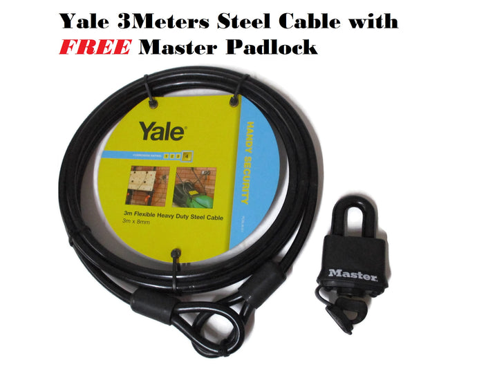 Yale 3m Steel Cable with free MasterLock Padlock Combo